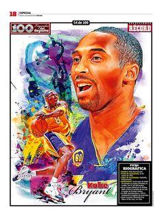 Kobe Bryant 100 Leyendas del Deporte / 100 Sports Legends by Jesús R. Sánchez, via Behance