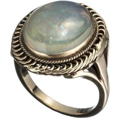 Alexis Bittar 1910's 14K Gold with Mexican Opal Ring ($2,200) ❤ liked on Polyvore featuring jewelry, rings, accessories, edwardian rings, gold ring, 14k yellow gold ring, 14k gold jewelry and opal jewelry