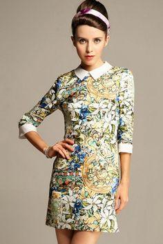 Retro Oil Painting Print Dress OASAP.com