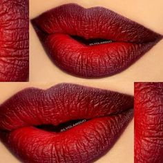 Ombre Lips: 42 Stunning Lip Styles To Try Right Now Ombre lips looks are one of the latest beauty obsessions. Check out our photo gallery featuring gradient lip makeup looks and go for mega impact. Red Ombre Lips, Gradient Lips, Dark Red Lips, Lipstick Colors, Red Lipsticks, Lip Colors, Matte Lipstick, Lip Art, Flawless Makeup