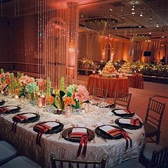 wedding - love the mix of green hydrangeas and coral flowers on the table