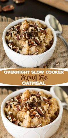 slow cooker overnight pecan pie oatmeal recipe   Print Author: Kate at i heart eating ingredients 1 c. steel cut oats 3 3/4 c. water 1 (12 oz.) can evaporated skim milk 1/4 c. brown sugar 1/2 tsp. maple flavor Topping Brown sugar Maple syrup Chopped pecans instructions Grease slow cooker. In a large bowl, stir together oats, water, milk, brown sugar, and maple flavor. Pour into slow cooker (I used a 2 quart). Cover, and cook on low for 6-8 hours. To serve, top with additional brown sugar…