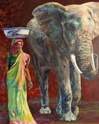 Indian atmosphere, cm, oil on canvas Science And Nature, Oil On Canvas, Wildlife, Elephant, Painting, Animals, Indian, Animales, Animaux