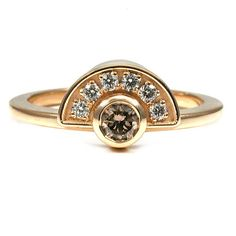 Art Deco Half Halo Engagement Ring - Champagne and White Diamonds - 18k Yellow Gold