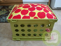 Cute apple upcycled crate seat tutorial for classrooms and libraries... great for storing books, pillows, and a stuffed animal (or two).