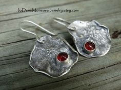 Sterling silver earrings,rustic,red Carnelian,reticulated, oxidized,hand fabricated,action stone,one of a kind,artisan metalsmith jewelry by JoDeneMoneuseJewelry on Etsy