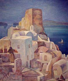 Κογεβίνας Λυκούργος-Σαντορίνη, Santorini Painter Artist, Artist Art, Impressionist Paintings, Watercolor Paintings, Watercolors, Modern Art, Contemporary Art, Greece Painting, Greek Culture