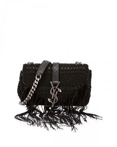 09d4e608e8 Saint Laurent Monogram Baby Chain Serpent Crochet Crossbody Bag Black  Women s Baby Monogram