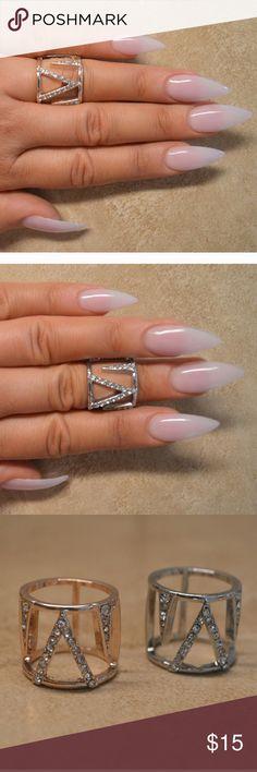Midi Knuckle Chevron Pave Ring Silver chevron pave ring. Midi ring super cute Jewelry