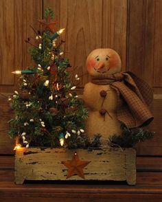 SMALL HANDMADE PRIMITIVE SNOWMAN DOLL LIGHTED WINTER TREE WOOD BOX FOLK ART #NaivePrimitive