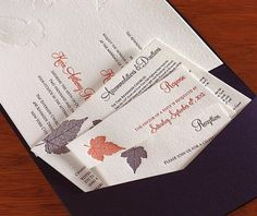 This one I like!! Gorgeous autumn wedding invitation by http://invitationsbyajalon.com on http://WedOverHeels.com