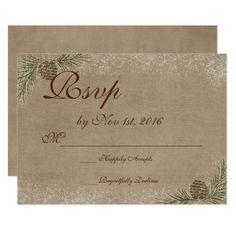 Winter Wedding RSVP Card Pinecone