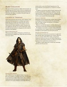 DnD 5e Homebrew — College of the Thespians Bard by Sakilla07