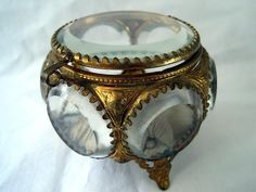 Antique Glass Casket Beveled Glass Jewelry Box