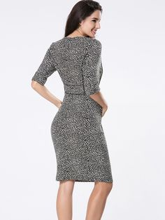 Buy Office Printed Round Neck Bodycon Dress online with cheap prices and discover fashion Bodycon Dresses at Fashionmia.com.
