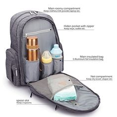 CoolBELL Baby Diaper Backpack With Insulated Pockets/Large Size Water-resistant Baby Bag/Multi-functional Travel Knapsack Include Changing Pad (Grey) Best Backpack Diaper Bag, Baby Diaper Bags, Diaper Bag Backpack, Outdoor Baby, Bobe, Cool Backpacks, Cotton Bag, Baby Items, Outdoors