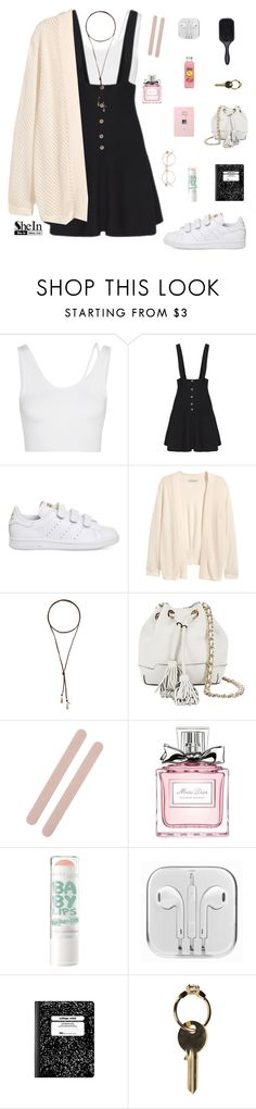 """""""Strap Suiting Buttons Flare Suspenders Black Dress by SheIn"""" by patricia-pfa ❤ liked on Polyvore featuring Helmut Lang, adidas, H&M, Vanessa Mooney, Rebecca Minkoff, Muji, Christian Dior, Maison Margiela, Denman and shein"""