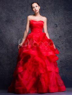 Bola vermelha vestido querida flor Strapless assoalho-comprimento vestido de noiva Organza - Milanoo.com