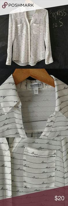 Express Sheer Top LOVE cursive writing Sz S Express The Portofino Shirt.  Sz S.  White sheer poyester button down shirt with black cursive writing all over it saying Love.  Long Sleeve or roll up.  Bust up to 35 in. Sleeve length 23 in. Length 25 in.   Very good Preowned condition.  No stains no holes.  Looks great. Smoke and Pet free environment.  No trades Express Tops Button Down Shirts