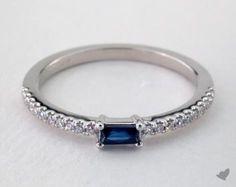14K White Gold Sapphire Baguette and Diamond Ring (September)