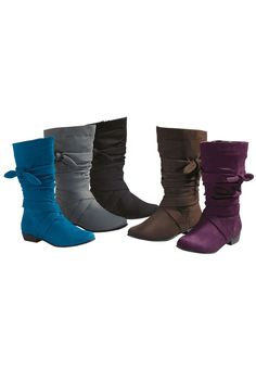Plus Size Heather wide calf scrunch boot by Comfortview® | Plus Size scrunch boots | Woman Within