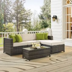 Sol 72 Outdoor Carmelo 5 Piece Rattan Sectional Seating Group with Cushions Frame Finish: Gray Outdoor Sofa Sets, Outdoor Seating, Outdoor Spaces, Outdoor Living, Outdoor Furniture Sets, Outdoor Decor, Furniture Decor, Alpine Furniture, Patio Sets