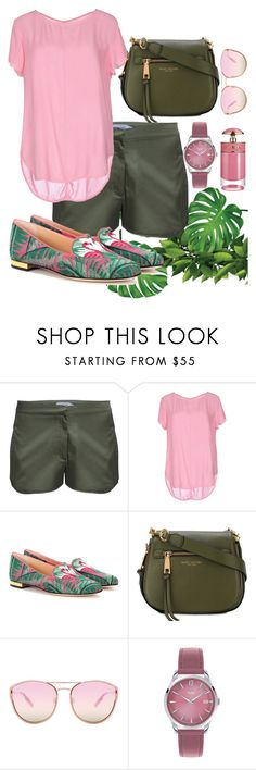 """""""Pink & Green"""" by namogold ❤ liked on Polyvore featuring Umran Aysan, Brand Unique, Charlotte Olympia, Marc Jacobs, Quay, Henry London and Prada"""