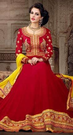 Maroon color Long Length Anarkali-Georgette Salwar Kameez