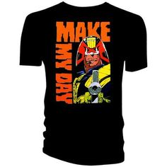 2000AD Official Licensed Quality T-Shirt JUDGE DREDD MAKE MY DAY T/S LARGE £11.99