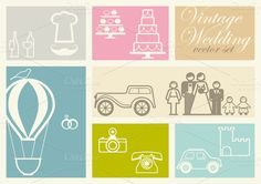 Check out 36 Vintage Wedding Icons vector set by Delagrafica on Creative Market
