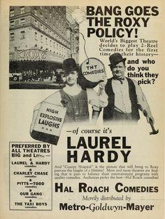 Hal Roach Comedies for MGM Stan Laurel Oliver Hardy, Laurel Und Hardy, Vintage Tv, Vintage Images, Sound Film, Cinema, Silent Film, Classic Films, Old Movies
