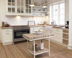 Modern kitchen innovation - Home Decorating Trends - Homedit Small Country Kitchens, Country Kitchen Designs, Modern Farmhouse Kitchens, Farmhouse Kitchen Decor, Home Kitchens, Kitchen Country, Farmhouse Ideas, Kitchen Interior, Neutral Kitchen Designs
