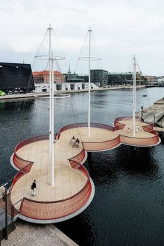 The Cirkelbroen Bridge in Copenhagen. Designed by the Danish-Icelandic artist Olafur Eliasson