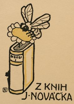 Exlibris by Vojtech Preissig from Czech Republic for J. Novacka - Book Fauna Flora - Line block Ex Libris, Bee Illustration, Library Website, Bee Art, S Monogram, Love Book, Vintage Posters, Graphic Art, Marque Page