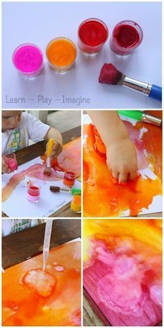 How to make fizzing, bubbling, beautiful baking soda paint. Ours didn't come out quite as well but still fun.
