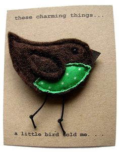 A Little Bird Told Me' Felt Brooch  by these charming things  23.89