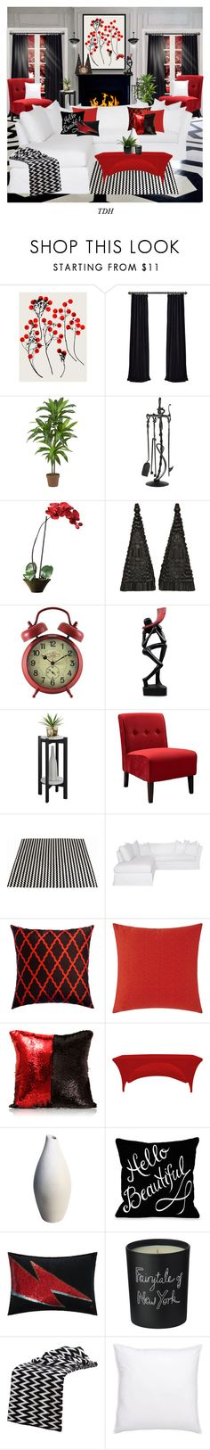 """""""Red Black & White Living Room"""" by talvadh ❤ liked on Polyvore featuring interior, interiors, interior design, home, home decor, interior decorating, Garima Dhawan, Nearly Natural, NOVICA and Convenience Concepts"""