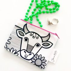 Little handmade screen printed purses in my Etsy shop @janefosterdesigns #moo #cow #cowpurse #moopurse #screenprintedfabric #screenprintedpurse #janefoster #janefosterillustration
