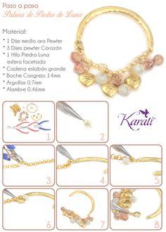DIY pulsera con #dijescorazon y piedra luna www.karati.com