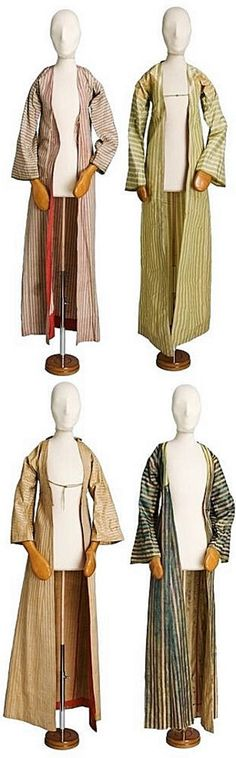 Four 'entari' (long-sleeved coat dress) of the 'kaftan'-type.  Striped silk.  Originating from Jewish families of Thessaloniki.  Late-Ottoman era, ca. 1800.  (© The Jewish Museum of Greece, Athens).
