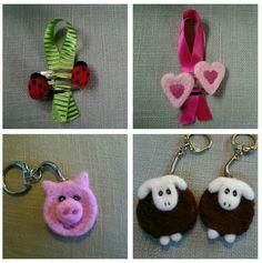 Needlefelt ladybird & heart hairclips. Needlefelt piglet and sheep keyrings. A little bit of fun for grey winter days.