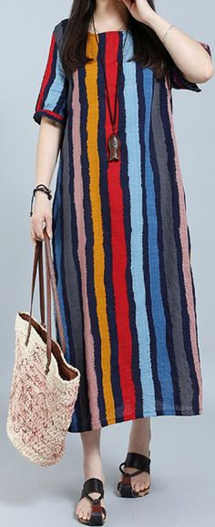 US$ 15.65 Casual Loose Short Sleeve Long Striped Maxi Dresses For Women