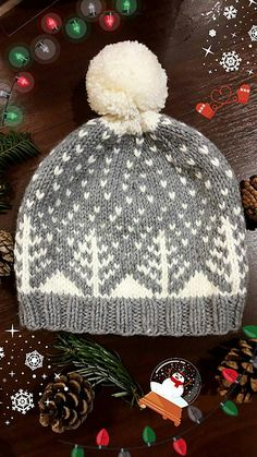 Crochet Hat Ravelry: Snowy Trees Hat pattern by Sofia Moussa - This beautiful warm hat is perfect for winter and has a touch of festiveness. Fair Isle Knitting Patterns, Knitting Designs, Knitting Projects, Crochet Patterns, Knit Or Crochet, Crochet Hats, Ravelry Crochet, Tejido Fair Isle, Art Textile