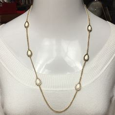 """14th & Union Cream Crystal Tear Drop Necklace GORGEOUS, LONG, 14th & Union Cream & Gold Tone Crystal Tear Drop Station Necklace- Wear it long or Double it up. 32"""" in Length. RETAIL $45 14th & Union  Jewelry Necklaces"""