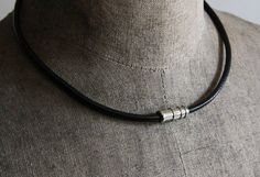 Mens Round Leather Cord Necklace Mens Leather Necklace