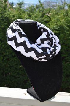 Chevron Infinity Scarf - Black and White