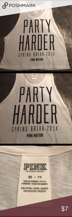 Victoria's Secret spring break shirt- XS Never worn, bought for spring break and it just sits in my closet. XS, perfect condition. PINK Victoria's Secret Tops Crop Tops