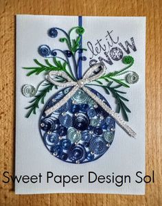Paper Quilling Christmas Card. Handmade by SweetPaperDesignSol