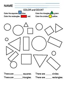 Shapes Color and Count - 4 pages - 14 different shapes