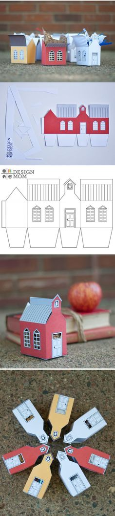 The Perfect Gift: School House Gift Box ⋆ Design Mom - Free printable School House Box templates (in white yellow and red) from Design Mom: www. Diy Paper, Paper Crafting, 3d Templates, House Template, Printable Box, Printables, Ideias Diy, Putz Houses, House Gifts